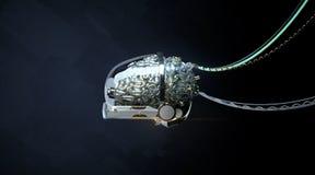 Bundit glansigt robotic organ - hjärnan 3d framför lära för maskin för nerv- nätverk för illustration för Cyborghjärna 3d generat royaltyfri illustrationer
