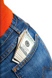 Bundle of $100 bills in pocket Stock Photography
