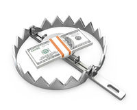 Bundle of 100 dollars in a bear trap. On white background royalty free illustration