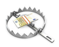 Bundle of 200 euro in a bear trap. On white background Royalty Free Stock Photography