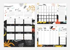 Bundle of 2019 year calendar, monthly and weekly planner and to-do-list templates with colorful smears, paint traces Stock Illustration