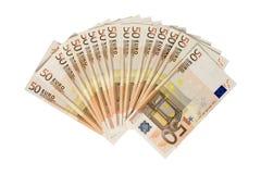 Bundle of 50 Euro. Isolated on white background stock photography
