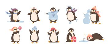 Bundle of adorable penguins wearing winter clothing and hats isolated on white background. Set of funny cartoon arctic. Animals in outerwear. Colorful childish vector illustration
