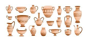 Bundle of ancient greek pottery isolated on white background. Collection of clay pots, vases and amphoras decorated by royalty free illustration