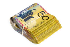 Bundle of Australian Money Isolated on White Stock Photo