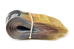 Bundle of Australian Money Isolated on White Side View Royalty Free Stock Photo