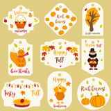 Bundle of autumn labels with different characters. Bundle of autumn labels and tags and with different characters Stock Image