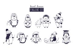 Bundle of baby boy and girl penguins wearing winter clothing and hats drawn in monochrome colors. Set of cute cartoon Stock Photos