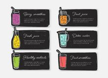 Bundle of banner templates or cards with smoothies, juices, detox water, cocktails in glasses, bottles, jars and jugs royalty free illustration
