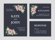 Bundle of beautiful wedding invitation, Save The Date and response card templates decorated with pink and yellow Stock Image