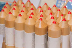 Bundle of big pencils with red end Stock Photography