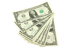 A bundle of bills in one American dollar. On a white background Royalty Free Stock Images