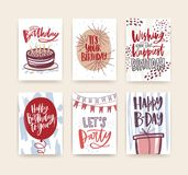 Bundle of birthday greeting card, postcard or party invitation templates decorated with handwritten b-day wishes and. Festive elements - gift, balloon, confetti Stock Photography
