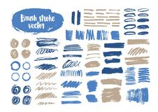 Bundle of blue and gray brush strokes, paint traces, smudges, smears, stains, scribble isolated on white background vector illustration