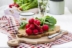 Bundle of  bright fresh organic radishes with leaves. In rustic style Royalty Free Stock Image