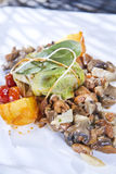 Bundle of cabbage with a side of mushrooms, selective focus Stock Images
