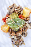 Bundle of cabbage with a side of mushrooms, selective focus Stock Photos