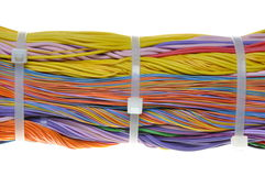 Bundle of cables with cable ties Royalty Free Stock Images