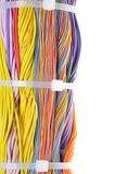 Bundle of cables with cable ties Stock Photo