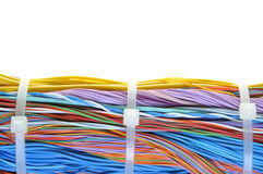 Bundle of cables with cable ties Royalty Free Stock Photo