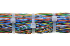 Bundle of cables with white cable ties Royalty Free Stock Photography