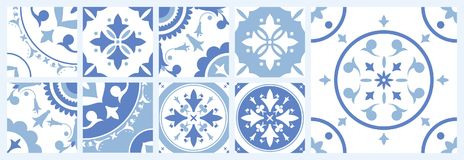 Bundle of ceramic square tiles with various traditional oriental patterns. Set of mediterranean decorative ornaments in royalty free illustration