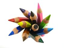 Bundle of color pencils. Shot from above Royalty Free Stock Photos
