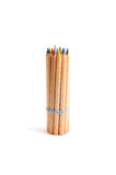 Bundle of color pencils with rubber band Stock Images