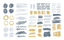 Bundle of colorful brush strokes, paint traces, smudges, smears, stains, scribble isolated on white background. Set of. Grey and yellow hand drawn design royalty free illustration