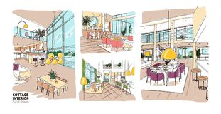 Bundle of colorful drawings of summer cottage interiors full of stylish and comfy furniture. Set of hand drawn house. Rooms furnished in modern Scandinavian Royalty Free Stock Image