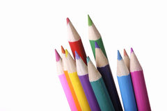 Bundle of coloured pencils. A bundle of colourful pencils isolated on white background Stock Photo