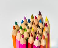 Bundle of coloured pencils ready for use royalty free stock photos