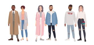Bundle of cute stylish couples or romantic partners isolated on white background. Set of men and women dressed in trendy vector illustration