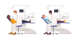 Bundle of dentists examining male and female patients lying in chairs. Set of dental surgeons treating man and woman Royalty Free Stock Photography