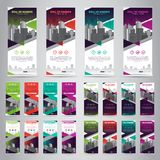 Bundle of 4 Different Color Business Roll Up. Standee Design. Banner Template. Presentation and Brochure. Vector illustration.  vector illustration