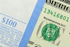 Bundle of 1 Dollar notes Stock Photos