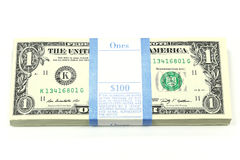 Bundle of 1 Dollar notes Royalty Free Stock Photography