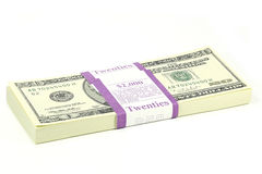 Bundle of 20 Dollar notes Royalty Free Stock Image