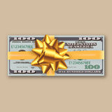 Bundle of dollars, gold ribbon with bow Stock Photo