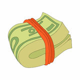 Bundle of dollars icon in cartoon style. On a white background Stock Images