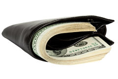 Bundle of dollars in leather wallet Stock Photo