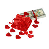 Bundle of dollars in red pouch Stock Image