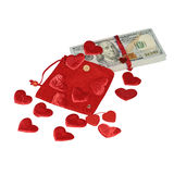 Bundle of dollars in red pouch with hearts Stock Photo