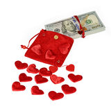 Bundle of dollars in red purse Stock Image