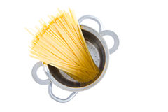 Bundle of dried fettuccine pasta in a pot Stock Photo