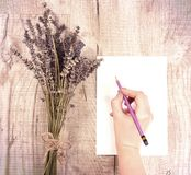 Bundle of dried lavender flowers and shit of paper with copy spa Stock Photo