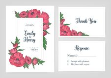 Bundle of elegant templates for wedding invitation, response card and thank you note with pink blooming poppy flowers royalty free illustration