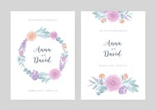 Bundle of elegant wedding invitation templates decorated with wreath and bouquets made of blooming flowers. Set of cards stock illustration