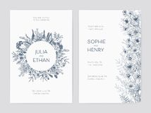Bundle of elegant wedding party invitation templates decorated with beautiful flowers and round wreath hand drawn with. Blue outlines on white background vector illustration