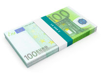 Bundle of 100 euro banknotes bills. Creative business finance making money concept - bundle of hundred euro banknotes bills  on white background Royalty Free Stock Photography